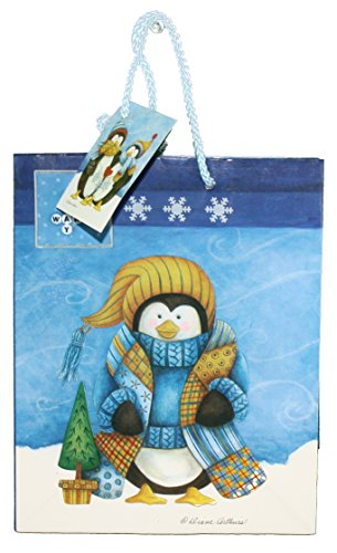 Gloss Finish Deluxe Gift Bag - Frosty Friends - Small (8.5 x 7 x 4)