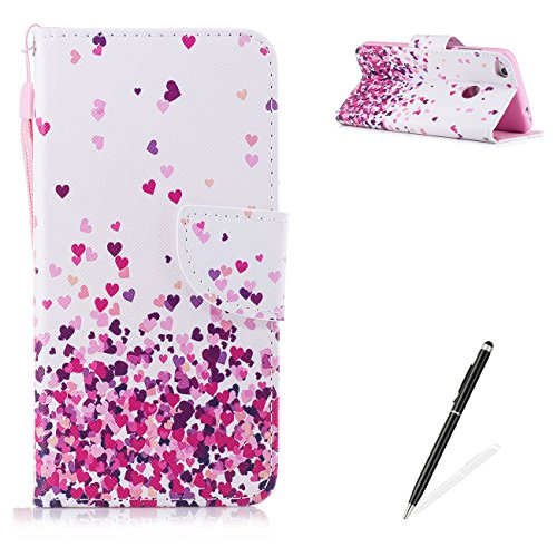 - MAGQI Huawei P8 Lite 2017/Honor 8 Lite PU Premium Leather Phone Cases, Flowers Panda Unicorn Cartoon Pattern Design Cover for Huawei P8 Lite 2017/Honor 8 Lite Flip Wallet Shell-Pink Heart
