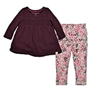 Burt's Bees Baby Baby Girls' Organic Top and Pants Set, Deep Autumn Legging Set, 6-9 Months