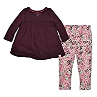 Burt's Bees Baby Baby Girls' Organic Long Sleeve Tee and Legging Set, Deep Au...