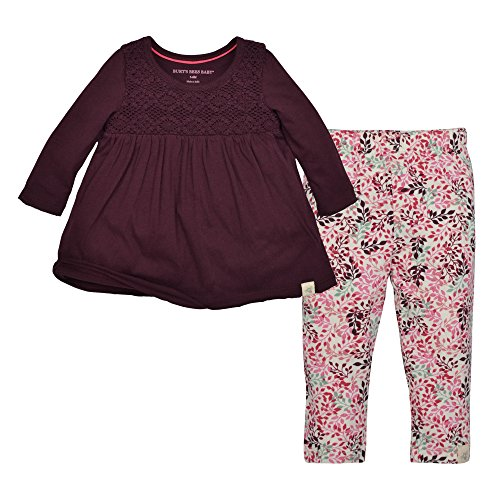 Burt's Bees Baby Baby Girls' Organic Top and Pants Set, Deep Autumn Legging Set, 12 Months