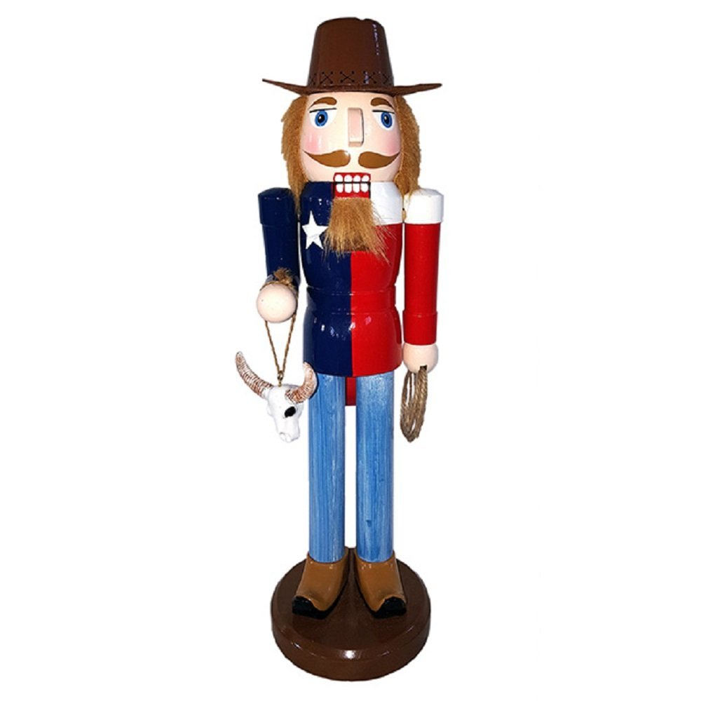 Santa's Workshop Inc Texas Cowboy with Longhorn Skull and Lasso Wooden Christmas Nutcracker 14 Inch