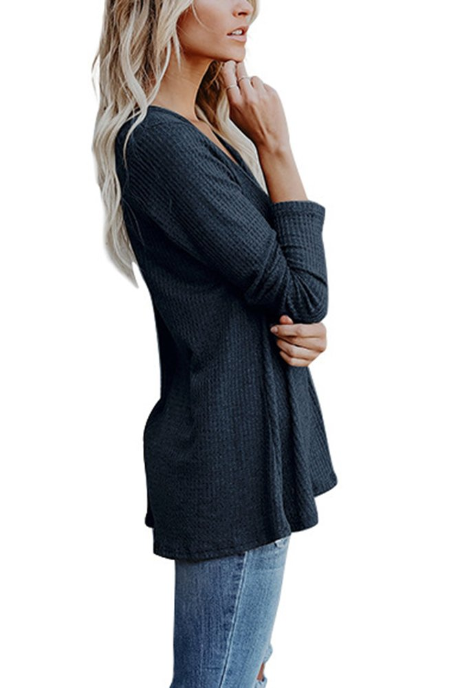 Smibra Womens Solid Long Sleeve V Neck Ribbed Sweater Henley Shirt Pleat Blouse Top Blue Large by Smibra (Image #2)