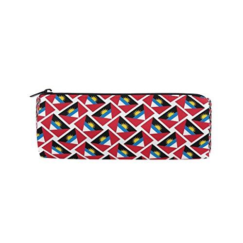 Pencil Case Antigua and Barbuda Flag Weave Zipper Canvas Pen Pouch Bag for Women Girls Kids Teens