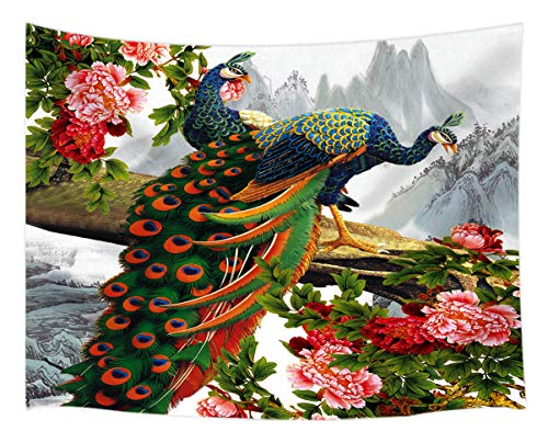 NYMB Peacock in Peony Flower Tapestry Wall Hanging, Bird on Mountain Landscape Painting Asian Chinese Style, Tapestries Art Bedroom Living Room Dorm 71 X 60 Inches Wall Blankets Home Decor