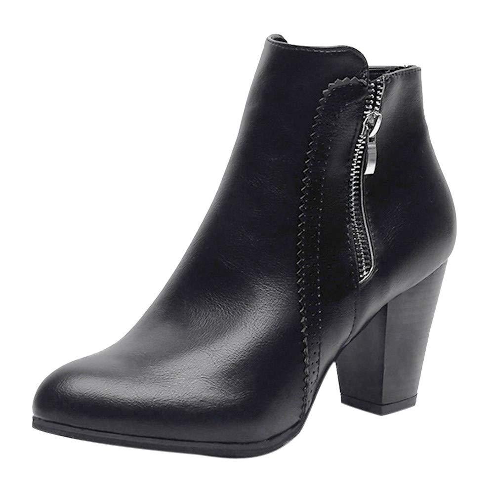 Logobeing Botines Mujer Tacon Invierno Planos Tacon Ancho Piel Botas de Mujer Medio Zapatos Combat Casual Planas Zapatos de Plataforma-5846(35, Marrón)