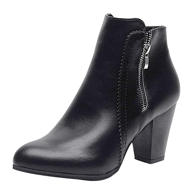 64f3ef9f0e5 Amazon.com  COPPEN Women Boot Christmas Vintage Chunky High Heels Thick  Heel Short Boot Ankle Booties Zipper Shoes  Clothing