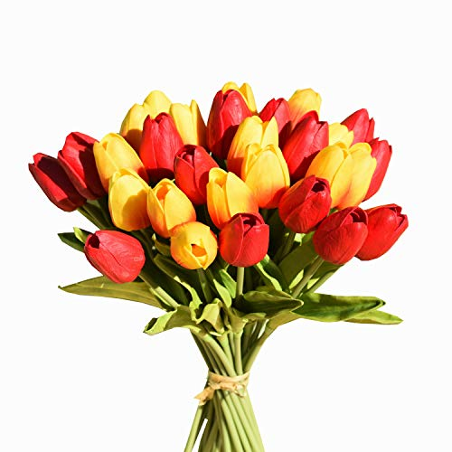 "Mandy's 30pcs Orange and red 14"" Artificial Tulips Flowers for Party Home Decoration (vase not Include)"