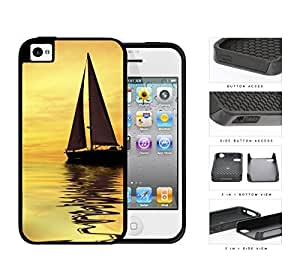 Sunset Sailboat Reflection 2-Piece Dual Layer High Impact Rubber Silicone Cell Phone Case Apple iPhone 4 4s