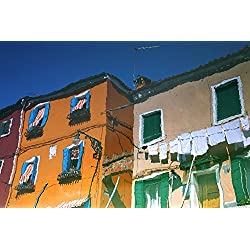 Reflections In Water Of Burano Italy Poster Print (34 x 22)