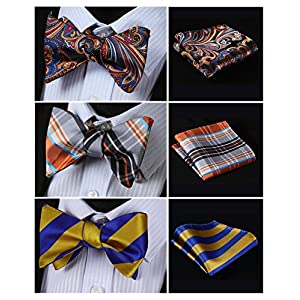 HISDERN 3pcs Mixed Design Classic Men's Self Tied Bow tie & Pocket Square - Multiple Sets