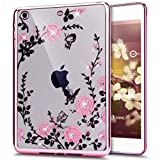 iPad Mini Case,ikasus Pink Butterfly Floral Flower Bling Crystal Rhinestone Diamonds Clear Rubber Rose Plating Frame Soft TPU Silicone Protective Bumper Case Cover for iPad Mini 3/2/1