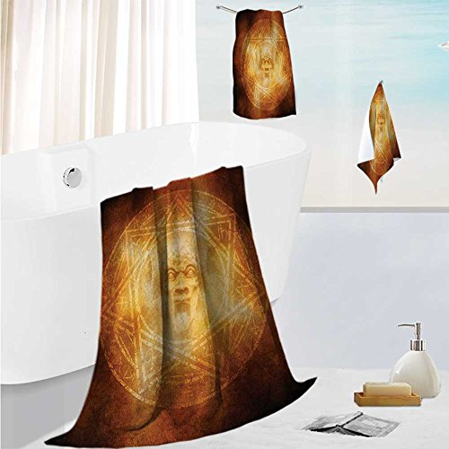 SCOCICI1588 fast dry bath towel setmDem Trap Symbol Logo Ceremy Creepy Ritual ntasy Paranormal Lightweight High Absorbency 13.8''x13.8''-11.8''x27.6''-27.6''x55.2'' by SCOCICI1588