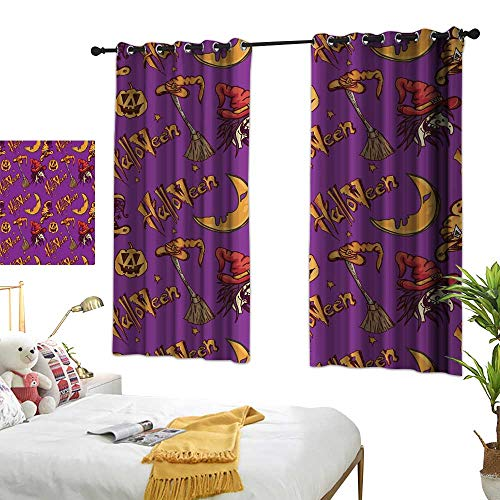 wwwhsl Perforated Curtain Halloween Pattern Pumpkin Witch Polyester Does not Fade, Durable and not Easy to Dirty W96.4 xL72]()
