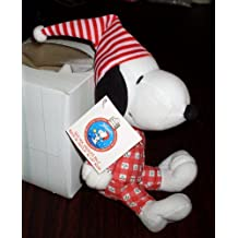 Peanuts Snoopy 8 Plush in Red & White Pajamas & Nightcap - Jingle Bell in Tummy