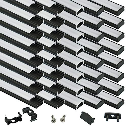 Muzata 40 Pack 1M/3.3ft Black Aluminum LED Channel System with Cover for LED Strip Lights, U-Shape Aluminum Profile with All Accessories for Easy Installation U1BW