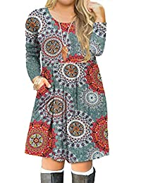 Women's Plus Size Long Sleeve Swing Casual Dress with Pockets
