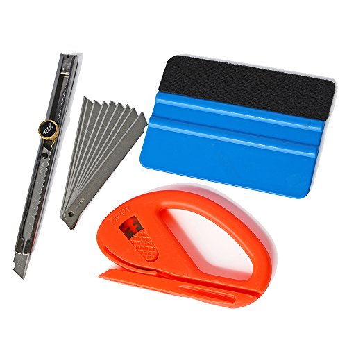 "Ehdis® Auto Glass Film de protection Outils Installation: 4 ""Felt bord voiture Raclette, snitty Safety Cutter vinyle, Verrouillage Utility Knife Auto avec 10 lames 30%OFF"