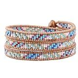 KELITCH Powder Coral Beads Original Leather Charm 3 Wrap Bracelet Handmade New Top Stretch Bracelets (Blue)