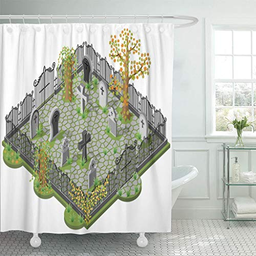 Emvency Fabric Shower Curtain Curtains with Hooks Green