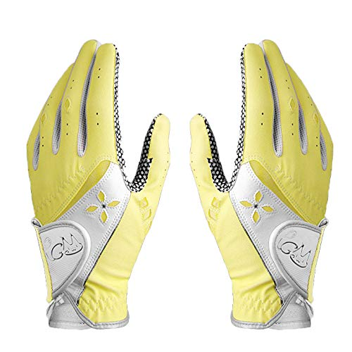Yellow Womens Golf Glove - PGM Women's Golf Glove One Pair, Improved Grip System, Cool and Comfortable (Yellow, 21, XL)