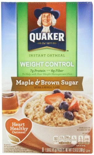 Quaker Instant Oatmeal - Maple & Brown Sugar, Heart Healthy Oatmeal, 10-count box, (Pack of 2) by Quaker