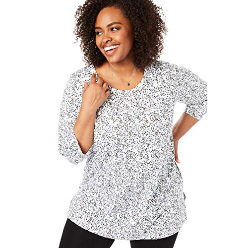 Woman Within Women's Plus Size Perfect Printed Three-Quarter Sleeve Tunic - White Small Ditsy, 4X