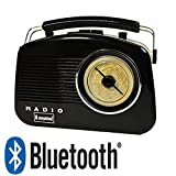 Steepletone Bluetooth Brighton Black Retro 1950's Style 3 Band Portable Radio with Rotary Dial.Latest Model with Bluetooth to wirelessly connect Smartphones, Tablets and mp3 Players.