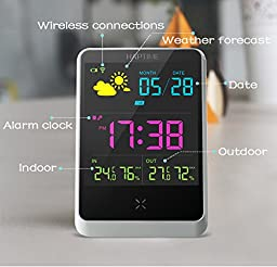New Upgrade Wireless Temperature Humidity Gauge Weather Station Clock,Large Digital Color Display Indoor/Outdoor Ambient Forecast Thermo-Hygrometer,Date/Time/Week/Alarm for Home