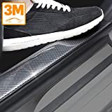 Universal Door Guard Bumper Carbon Fiber Rubber Front Rear Guard Bumper Seal Strip Front Rear Door Entry Sill Guard Scuff Plate Protectors for Most Cars 100% waterproof (Width 2in Long 9.8Ft)