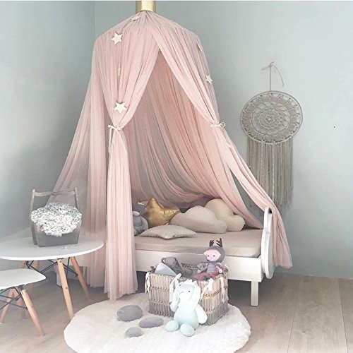 Welcome to Joyful Home Kids Mosquito Net Bed Canopy Round Lace Dome Princess Play Tent Bedding for Baby Kids Children's Room 240cm (Pink)
