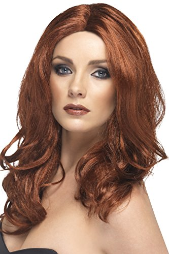 Smiffy's Women's Long Wavy Auburn Wig with Faux Skin Parting, One Size, Superstar Wig, 5020570422878