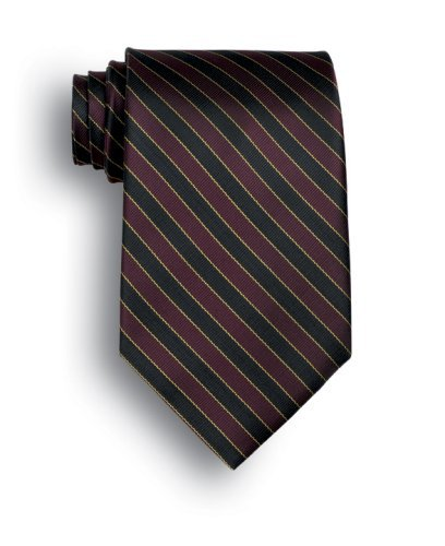 Signature Stripes Polyester Tie - West India - Black, Maroon, - Tie India