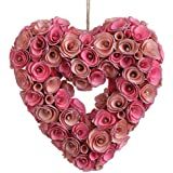 """RAZ Imports - Spring Collection - 10"""" Pink Rose Heart Wreath Ornament"""