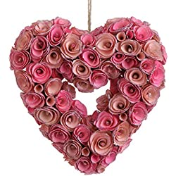 "RAZ Imports - Spring Collection - 10"" Pink Rose Heart Wreath Ornament"