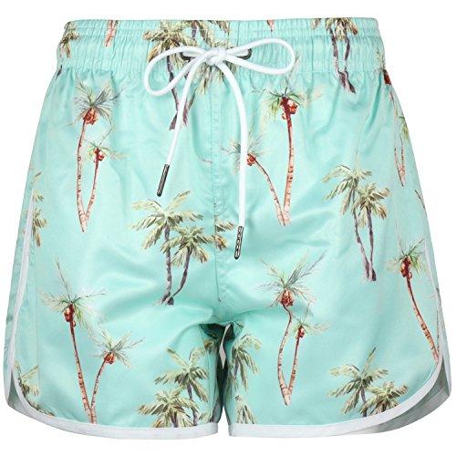 AOWKULAE Women's Floral Board Shorts Hawaiian Beach Shorts, Coconut Blue, Large