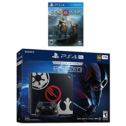 PlayStation 4 God of War Deluxe Bundle (2 items): PlayStation 4 Pro 1TB Limited Edition Console – Star Wars Battlefront II Bundle and PlayStation 4 God of War Game