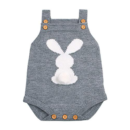 Jumper Rabbit - Baby Knitting Romper Infant Rabbit Outfits Cute Easter Bodysuit Clothes Sleeveless Bunny Jumpsuit Lovely Sweater (12-18 Months, Romper Grey)