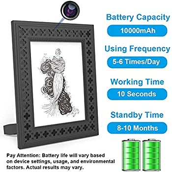 Hidden Camera WiFi Photo Frame 720P HD Home Security Spy Camera Night Vision and Motion Detection Wireless IP Nanny Cam with One Year Battery Standby Time ...