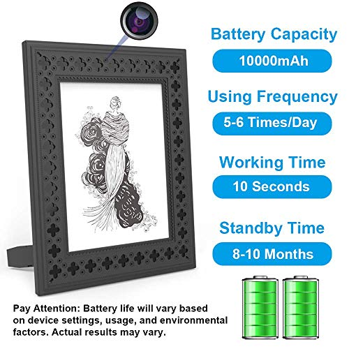 Hidden Camera WiFi Photo Frame 720P HD Home Security Spy Camera Night Vision and Motion Detection Wireless IP Nanny Cam with One Year Battery Standby Time and Instant Alerts To Smartphone (Video Only)