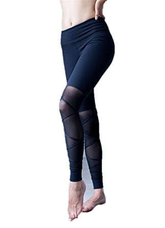 86a6e8024ec92 White Mesh Gym Yoga Leggings Straps Cross Goddess Fitness Women Dance Yoga  Pant Black S
