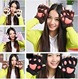 APAS Women Winter Fluffy Bear Cat Plush Paw Claw Glove Half Finger Cute Gloves Mittens