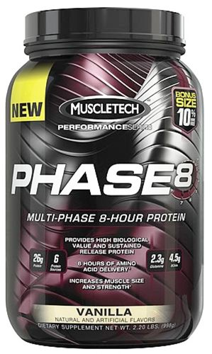 Muscletech Products - Phase8 Performance Series Multi-Phase Protein 8 heures vanille Bonus Taille - £ 2,2.
