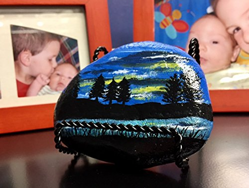 River and Trees Painted Rock Paperweight