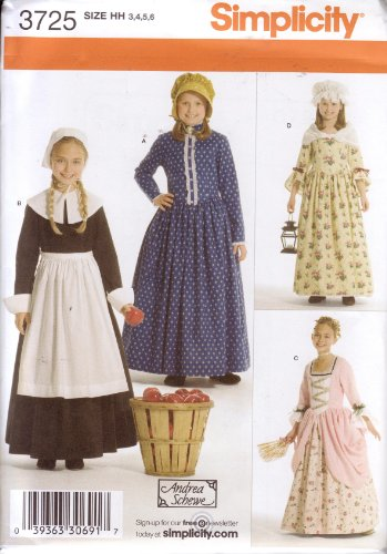 Simplicity Sewing Pattern 3725 Girl's Pioneer / Pilgrim / Colonial Dress & Bonnet, Sizes 3-6 (Pioneer Bonnet Pattern)