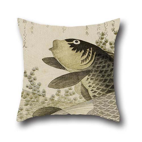 Oil Painting Ryuryukyo Shinsai - Carp Among Pond Plants Pillowcase 18 X 18 Inches / 45 By 45 Cm For Dance Room,dinning Room,lounge,girls,couch,gf With Two