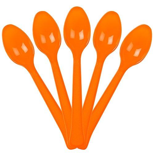 JAM PAPER Premium Utensils Party Pack - Plastic Spoons - Orange - 48 Disposable Spoons/Pack