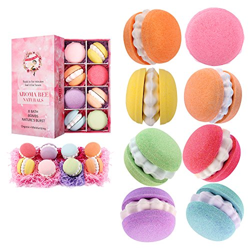 Bath Bombs Gift Set for Women Mom Teen Girls 4.8 oz. Set of 8, Birthday Valentine Gift for Her Natural Essential Oil Lush Fizzies.