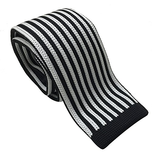 Skinny 2' Necktie Tie (AINOW Smart Casual Striped Mens 2'' Skinny Knit Tie - Various Colors (Black and White Small Striped))