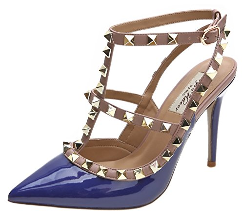 Yiuoer Heel Women's CM Sandals 10 Sandals Stud High Pumps Patent Wedding Blue Dress Buckle Royou Leather p7B7nfF